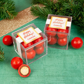 Personalized Christmas Shimmering Confetti JUST CANDY® favor cube with Premium Malted Milk Balls