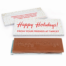 Deluxe Personalized Holiday Celebration Christmas Embossed Chocolate Bar in Gift Box