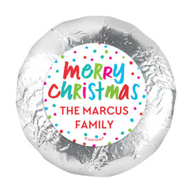 "Personalized Bonnie Marcus Polkadot Party Christmas 1.25"" Stickers (48 Stickers)"