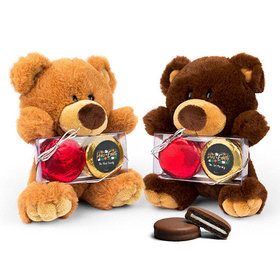 Personalized Peace on Earth Teddy Bear with Chocolate Covered Oreo 2pk