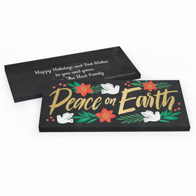 Deluxe Personalized Peace on Earth Christmas Chocolate Bar in Metallic Gift Box