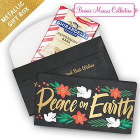 Deluxe Personalized Peace on Earth Christmas Ghirardelli Chocolate Bar in Metallic Gift Box