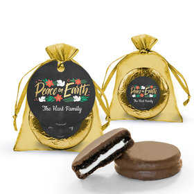 Christmas Peace on Earth Chocolate Covered Oreo Cookie in Organza Bags with Gift tag
