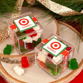 Personalized Christmas Ho Ho Ho's JUST CANDY® favor cube with Gummy Bears