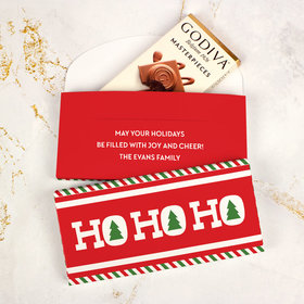 Deluxe Personalized Bonnie Marcus Ho Ho Ho's Christmas Godiva Chocolate Bar in Gift Box