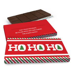 Deluxe Personalized Ho Ho Ho's Christmas Chocolate Bar in Gift Box (3oz Bar)