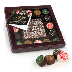Personalized Bonnie Marcus Christmas Gourmet Belgian Chocolate Truffle Gift Box (17 pieces)
