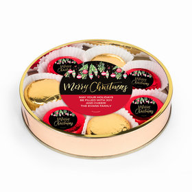 Personalized Christmas Ornaments Large Plastic Tin with Belgian Chocolate Covered Oreo Cookies