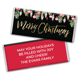 Personalized Bonnie Marcus Chocolate Bar & Wrapper - Christmas Ornate Ornaments
