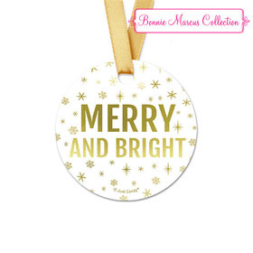 Personalized Christmas Glitter Round Favor Gift Tags (20 Pack)