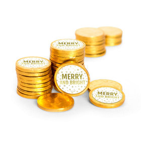 Personalized Chocolate Coins - Christmas Merry & Bright (84 Pack)