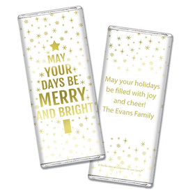 Personalized Bonnie Marcus Chocolate Bar & Wrapper - Christmas Glittery Gold