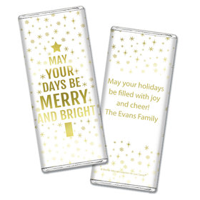 Personalized Bonnie Marcus Chocolate Bar Wrapper Only - Christmas Glittery Gold