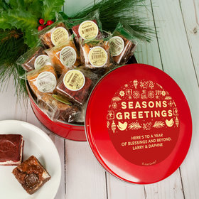 Personalized Christmas Season's Greetings Tin with Brownies (approx 16 pcs)
