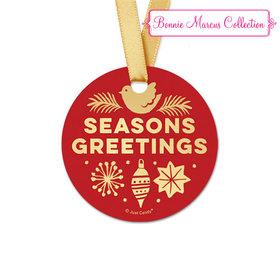 Personalized Christmas Seasons Greetings Round Favor Gift Tags (20 Pack)