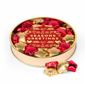Bonnie Marcus Christmas Seasons Greetings Large Plastic Tin with Milk Chocolate Foiled Stars