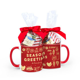Personalized Bonnie Marcus Christmas Seasons Greetings 11oz Mug with Ghirardelli Peppermint Bark Squares