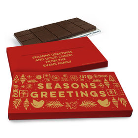 Deluxe Personalized Seasons Greetings Christmas Chocolate Bar in Metallic Gift Box (3oz Bar)