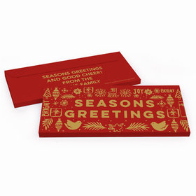 Deluxe Personalized Seasons Greetings Christmas Candy Bar Favor Box