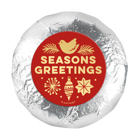 """Personalized 1.25"""" Stickers - Christmas Season's Greetings (48 Stickers)"""