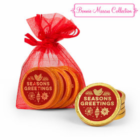 Bonnie Marcus Christmas Season's Greetings Chocolate Coins in XS Organza Bags - Set of 6