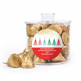 Personalized Christmas Trees Container with Deluxe Hershey's Kisses