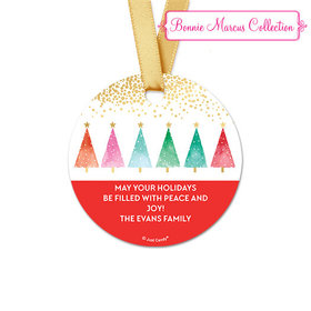 Personalized Christmas Shimmering Pines Round Favor Gift Tags (20 Pack)
