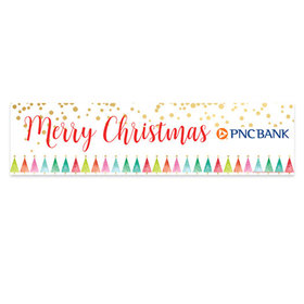 Personalized Shimmering Pines Merry Christmas 5 Ft. Banner