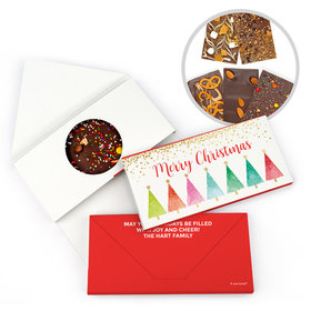 Personalized Shimmering Pines Christmas Gourmet Infused Belgian Chocolate Bars (3.5oz)