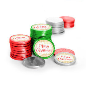 Personalized Chocolate Coins - Christmas Shimmering Pines (84 Pack)