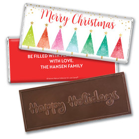 Personalized Bonnie Marcus Embossed Chocolate Bar - Christmas Shimmering Pines