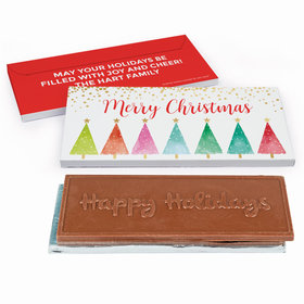 Deluxe Personalized Shimmering Pines Christmas Chocolate Bar in Gift Box