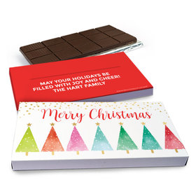Deluxe Personalized Shimmering Pines Christmas Chocolate Bar in Gift Box (3oz Bar)
