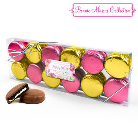 Personalized Bonnie Marcus Easter Pink Flowers 12PK Gold & Pink Chocolate Covered Oreo Cookies