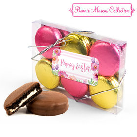 Bonnie Marcus Easter Pink Flowers 6PK Gold & Pink Belgian Chocolate Covered Oreo Cookies