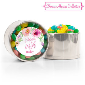 Personalized Easter Pink Flowers Spring Mix Jelly Beans Medium Plastic Tin