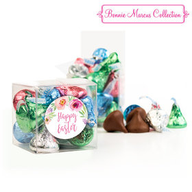 Easter Pink Flowers Clear Gift Box with Sticker - Approx. 16 Spring Mix Hershey's Kisses