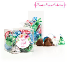 Personalized Easter Pink Flowers Clear Gift Box with Sticker - Approx. 16 Spring Mix Hershey's Kisses