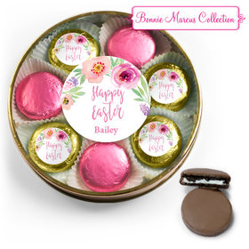 Personalized Easter Pink Flowers Belgian Chocolate Covered Oreo Cookies Large Plastic Tin