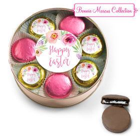 Easter Pink Flowers Chocolate Covered Oreo Cookies Extra-Large Plastic Tin
