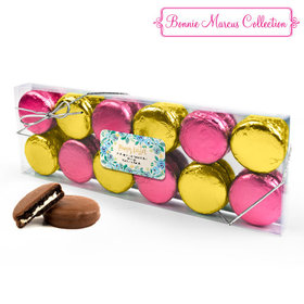 Personalized Bonnie Marcus Easter Blue Flowers 12PK Gold & Pink Chocolate Covered Oreo Cookies