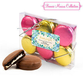 Personalized Bonnie Marcus Easter Blue Flowers 6PK Gold & Pink Chocolate Covered Oreo Cookies