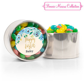 Personalized Easter Blue Flowers Spring Mix Jelly Beans Medium Plastic Tin