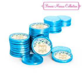 Bonnie Marcus Collection Easter Blue Flowers Chocolate Coins with Stickers (84 Pack)