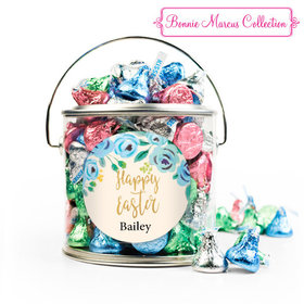 Personalized Easter Blue Flowers Silver Paint Can with Sticker - 1lb Spring Mix Kisses