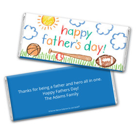 Personalized Bonnie Marcus Collection Father's Day Sports Chocolate Bar Wrappers Only
