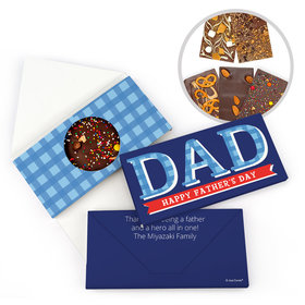 Personalized Plaid Bonnie Marcus Father's Day Gourmet Infused Belgian Chocolate Bars (3.5oz)