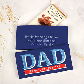Personalized Plaid Father's Day Godiva Chocolate Bar in Gift Box