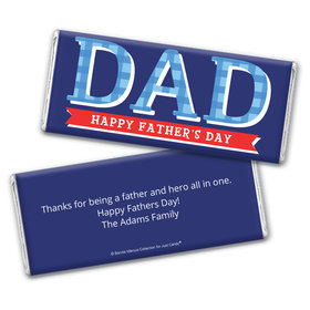 Personalized Bonnie Marcus Collection Father's Day Plaid Chocolate Bar Wrappers Only