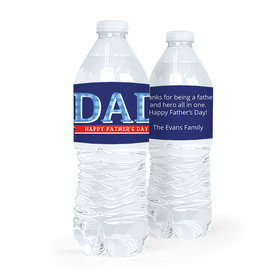 Personalized Father's Day Plaid Water Bottle Labels (5 Labels)